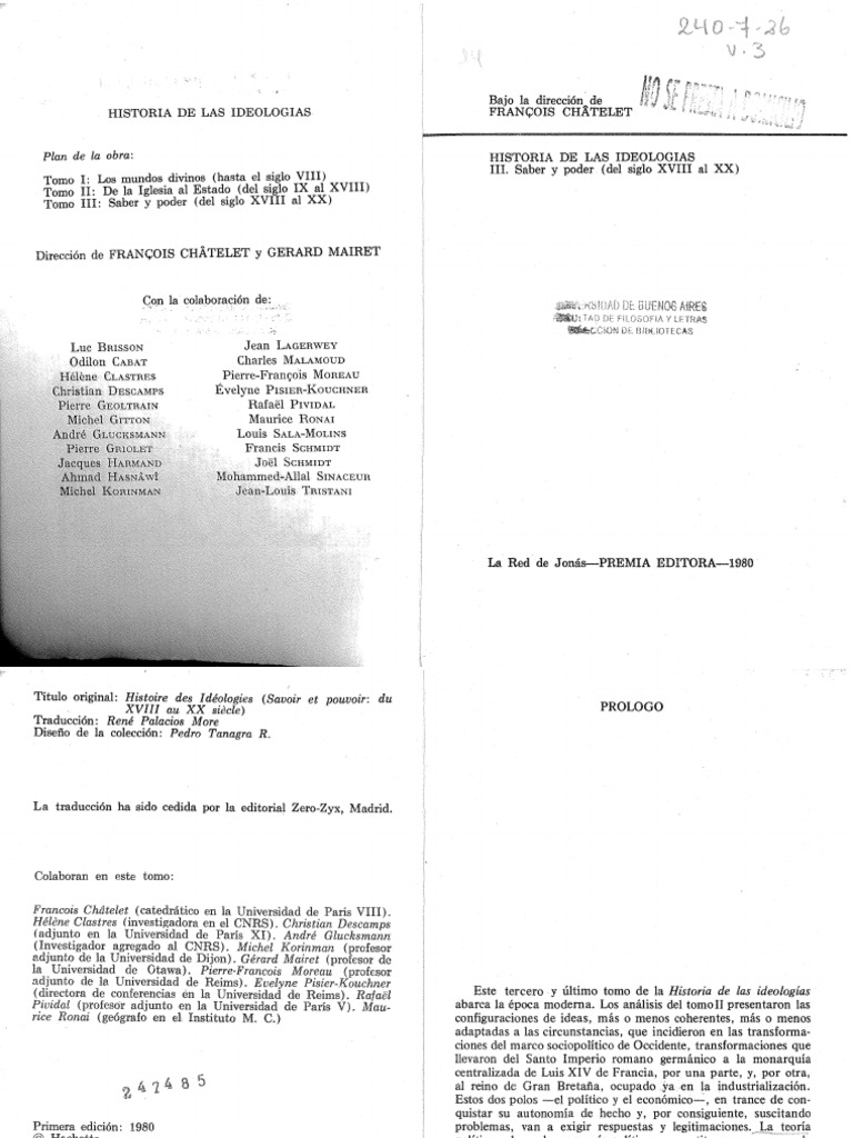 Chatelet Francois - Historia De Las Ideologias III - Saber Y Poder ...
