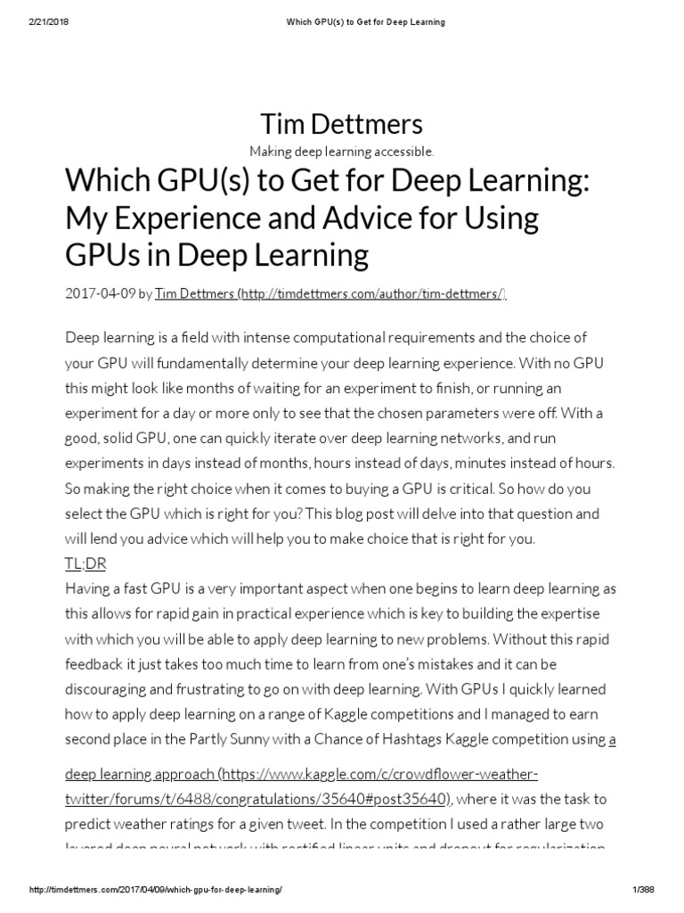 Which GPU(s) to Get for Deep Learning   Graphics Processing Unit