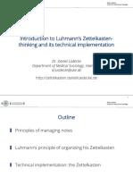 Introduction Into Luhmanns Zettelkasten Thinking