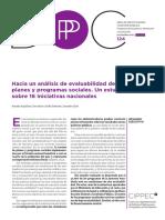 124 DPP IMyE Hacia Un Análisis de Evaluabilidad de Planes y Programas Sociales Aquilino Arias Estevez Echt