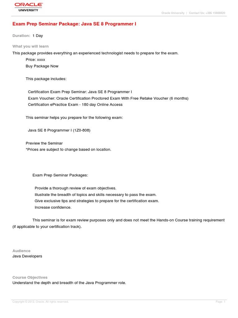 Exam Prep Seminar Package Java Se 8 Programmer I Method Computer