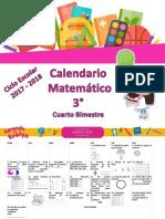 Calendario Matemático 3° Cuarto Bimestre