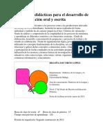 Estrategias Didácticas Para El Desarrollo de La Comunicación Oral y Escrita