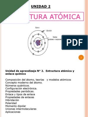 Clase 2 Estructura Atomica Enlace Químico Núcleo Atómico