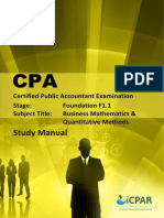 Cpa f1.1 - Business Mathematics & Quantitative Methods - Study Manual