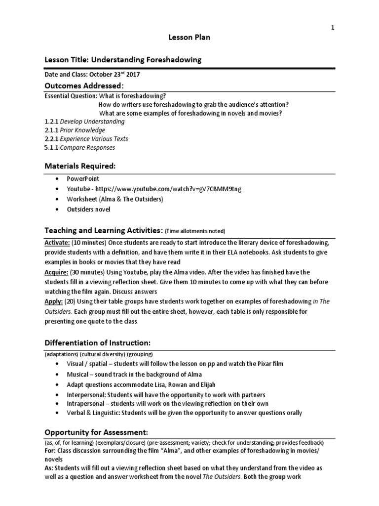 worksheet Foreshadowing Worksheet lesson plan foreshadowing psychology cognitive science teaching
