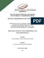Deficiencias Del Control Interno en El Manejo de Presupuesto de Las Municialidades Del Peru 2012 Caso Muni Distrital de Kimbiri