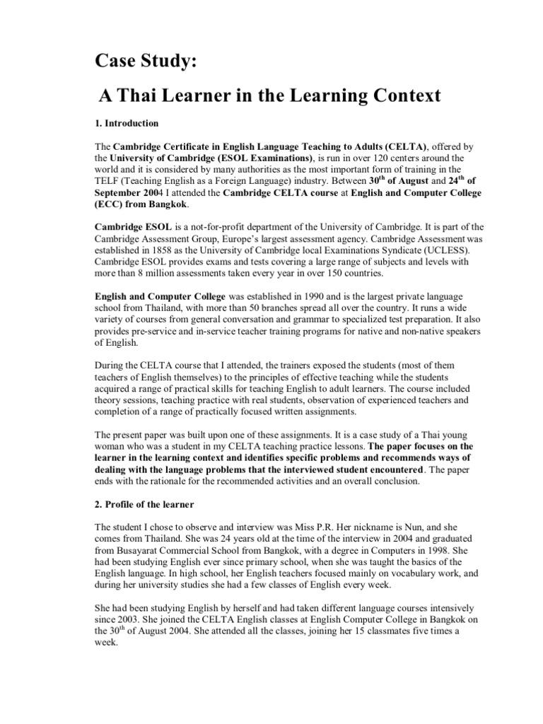celta case study assignment