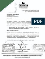 """Memorándum de Cooperación (""""MOC"""") firmado entre el Instituto Nacional Electoral y Facebook."""
