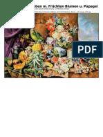 Josef Schuster Stillleben Mit Frc3bcchten Blumen Und Papagei