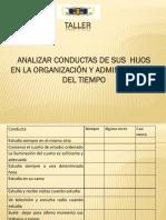 Taller Analizar Conductas Organizacion y Tiempo