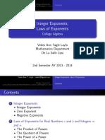 ALGEBRA (Integer Exponents & Laws of Exponents)