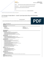 Credit Card Specialist Resume Example (J.P Morgan Chase Bank) - San Antonio, Texas