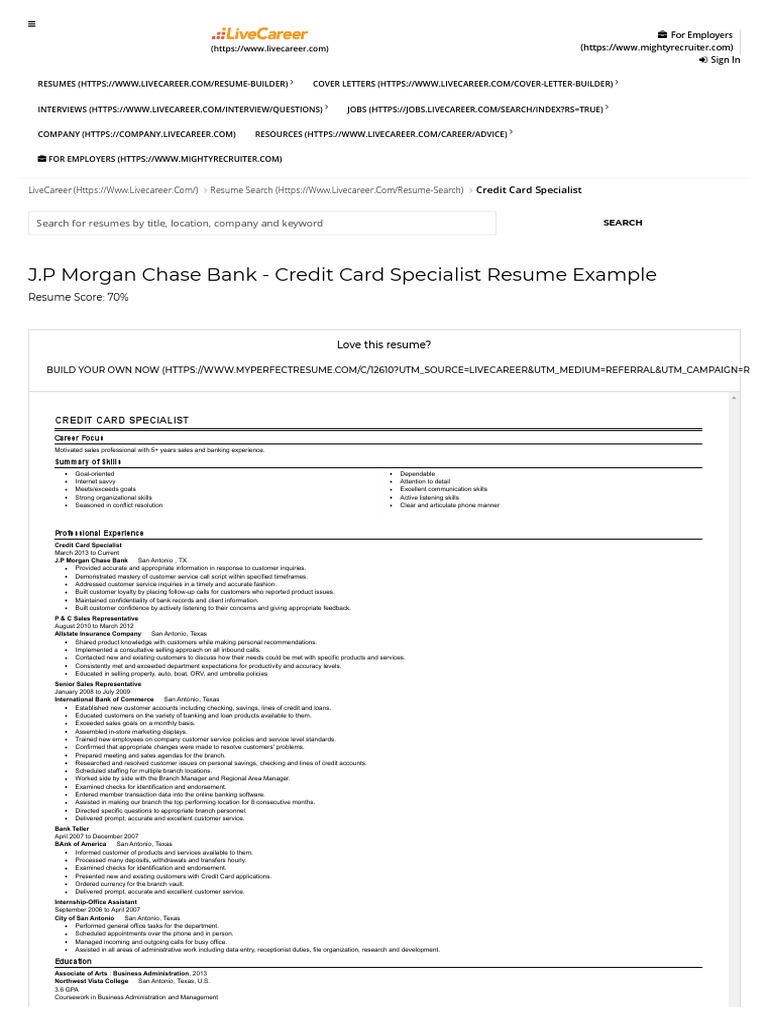 credit card specialist resume example j p morgan chase bank san