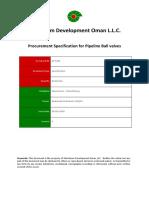 SP-1201 - Procurement Specification for Pipeline Ball Valves