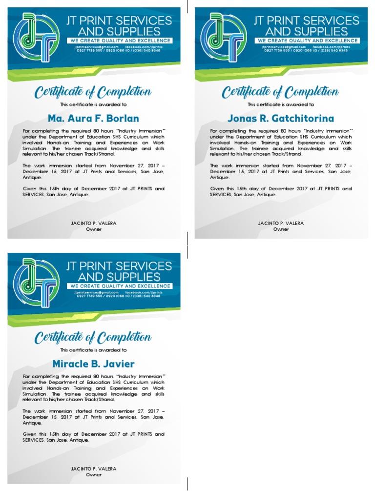 JT Certificate | Behavior Modification | Learning