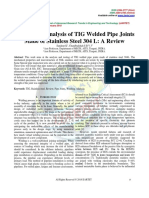 Testing and Analysis of TIG Welded Pipe Joints Made of Stainless Steel 304 L a Review