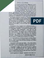 Proclama - Simon Bolivar