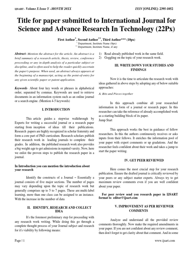 Ijsart Paper Template Academic Publishing Science