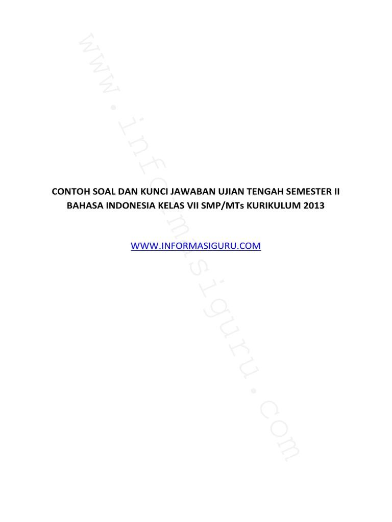 Soal Dan Kunci Jawaban Ujian Tengah Semester Ii Bahasa Indonesia