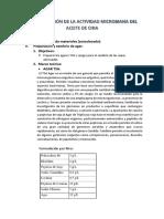 Determinación de La Actividad Microbiana Del Aceite de Chia