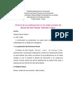 Demora de Las Publicaciones en Las Redes Sociales Del Museo de Arte Popular Salvador Valero