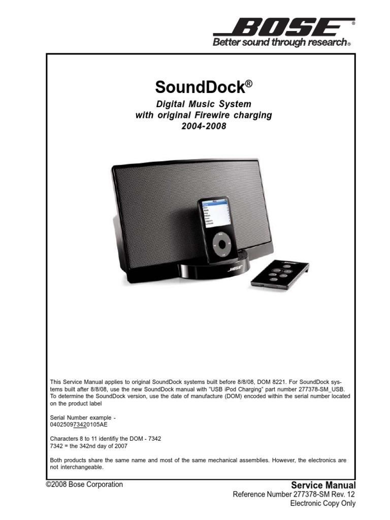 bose sounddock service manual electrostatic discharge i pod rh scribd com Bose SoundDock 1 vs 2 bose sounddock ii manual