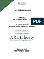 PLAN DE EMERGENCIAS METALDISEÑOS 2015