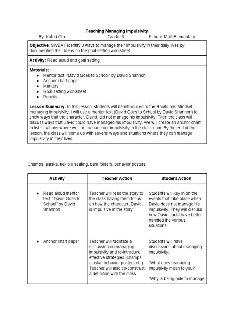 Teaching Managing Impulsivity Lesson Plan Goal Setting Mentorship