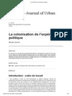 LEDUN, M. La Colonisation de l'Expérience Politique [Art.]