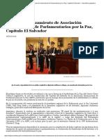 Realizarán Lanzamiento de Asociación Internacional de Parlamentarios Por La Paz, Capítulo El Salvador — Asamblea Legislativa