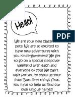 kindergarten welcome letter am