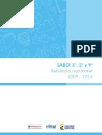 Resultados Nacionales Saber 3 5 9 2009 2014 (1)