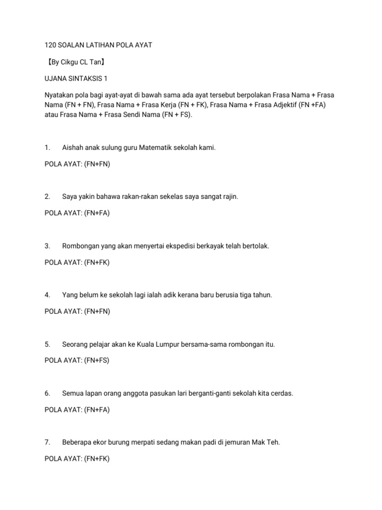 120 Soalan Latihan Pola Ayat