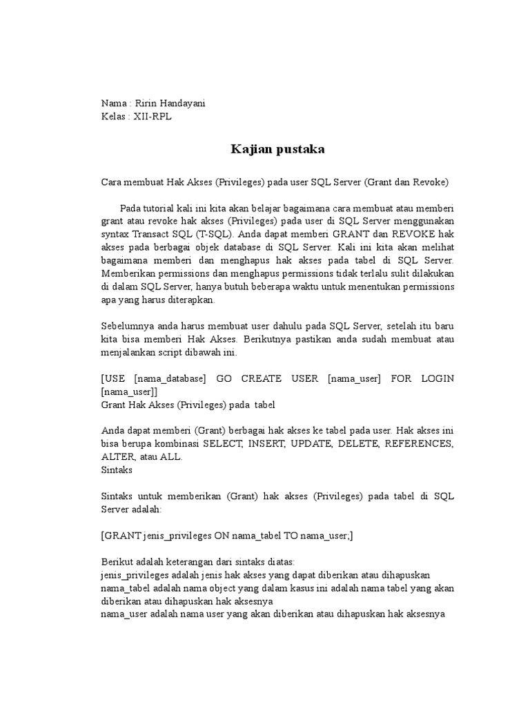 Kajian Pustaka Dokumen Grant And Revoke Ririnhandayani Xii Rpl Doc