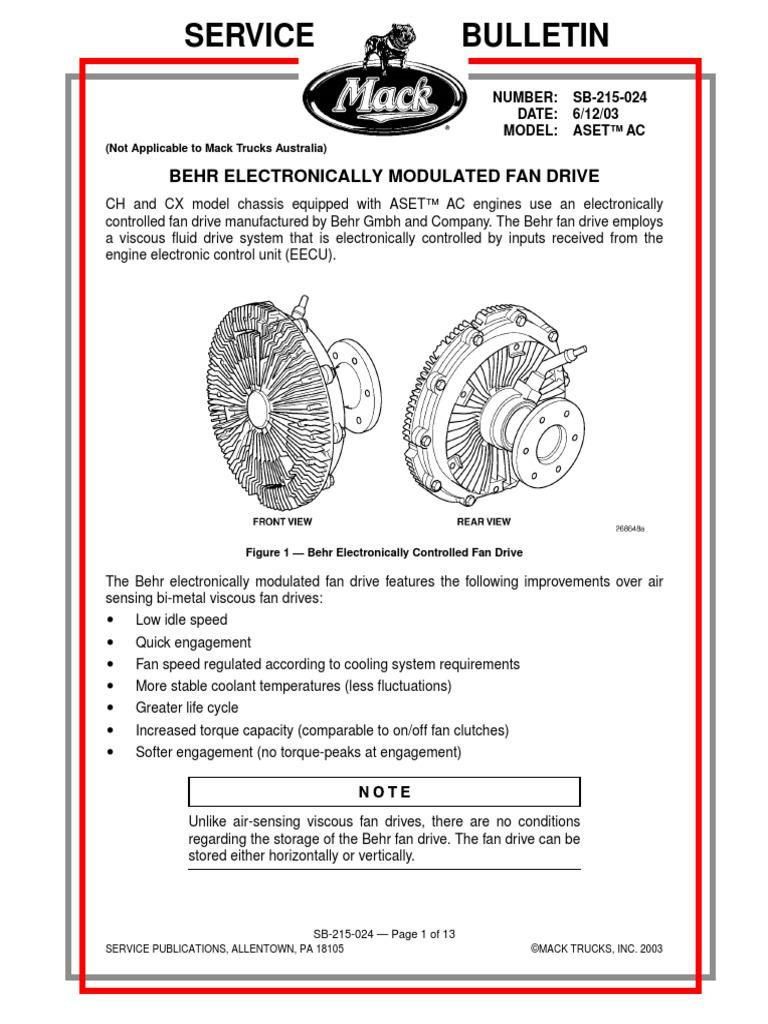 MAck Diagrama Electrico Fan Electrico Viscoso   Sensor   Engines