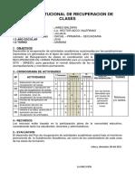Plan Institucional de Recuperacion de Clases 2016