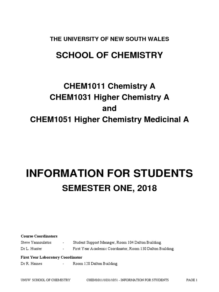 CHEM1031 Course Outline | Chemical Bond | Redox