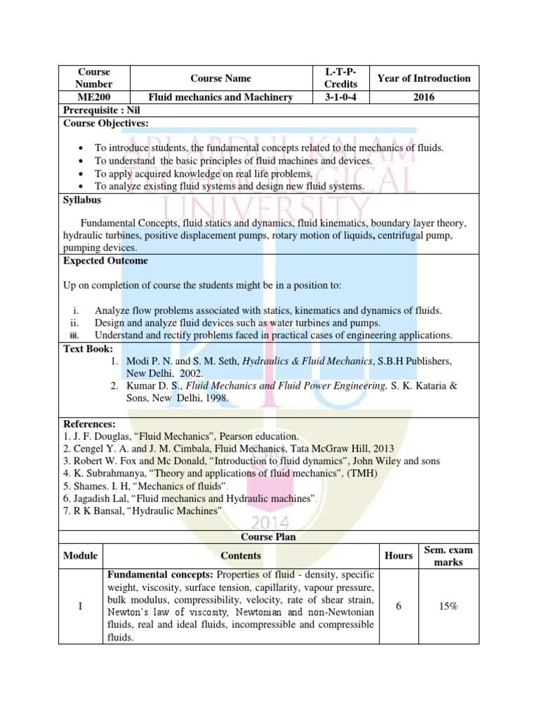 ME200-Fluid mechanics and Machinery pdf | Fluid Dynamics | Pressure