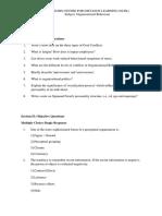 Sample Questions Organisational Behaviour