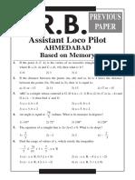 RRB Ahmedabad ALP Previous Paper