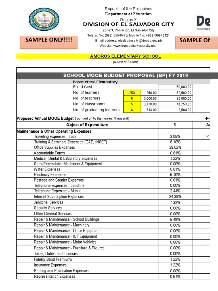 School Mooe Budget Proposal Fy 2019 | Insurance | Technology