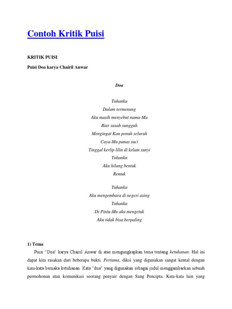Contoh Kritik Puisi