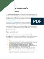 INFORMACIÓN y ejemplos de proyecto de investigacion