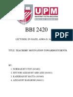 Cover Teachers' Motivation Towards Students