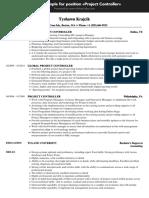 Project Controller - VelvetJobs Resume Sample