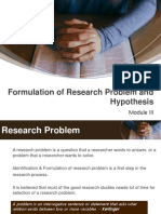 Mod III - Formulation of Research Problems and Hypothesis