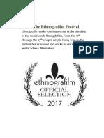 Ethnografilm Web Program Rev. 12 April 2017