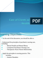 Care of Clients With Mental Health Disorders