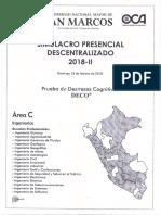 Unmsm Simulacro Presencial Desentralizado 2018 - II (Area c)